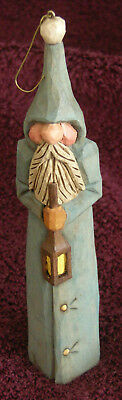 J. Starkey Santa Blue Ornament Hand Carved Painted 2011