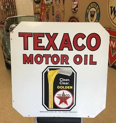 """Texaco Double Sided Porcelain 30""""x30"""" Motor Oil Clean Clear Golden Curb Sign"""