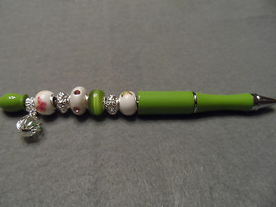 Fancy Handcrafted lime green beaded ballpoint ink writing pen