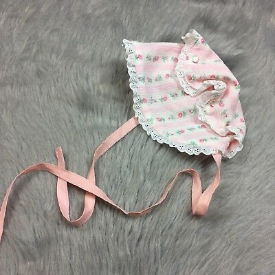 Vintage Handmade Baby Girls Pink White Floral Lace Trim Bonnet Hat