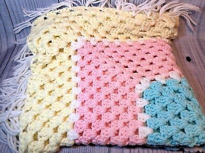 Vintage Hand Crocheted Baby Blanket Afghan Pink Yellow Blue Block Pattern Fringe