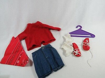 AS IS Retired Magic Attic Club Heather Outfit with Red Sweater, Jeans, etc AS IS