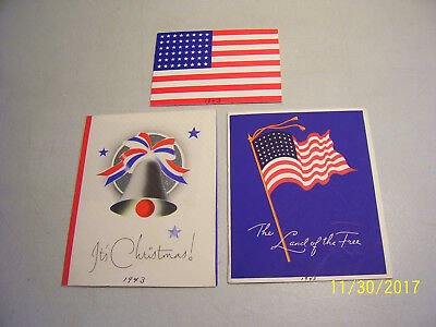 Lot of 3 Old Rare 1943 U.S. WW2 Christmas Greeting Cards-ALL 74 Years Old
