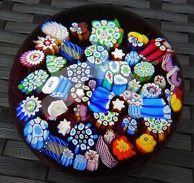 Perthshire John Deacons End Of Day Millefiori Magnum Paperweight Ruby