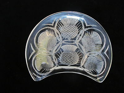 """Rene LALIQUE Crescent THISTLE Flower Crystal Glass 8"""" Dish Plate"""