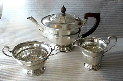 1934 English Sterling Silver Tea set GEORGE III Style Antique 586 gr. 3pc.