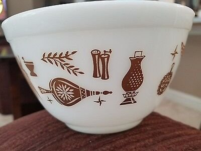 Vintage Pyrex Early American 1 ½ Pint Mixing Bowl Nesting 401 Brown Eagle Coffee