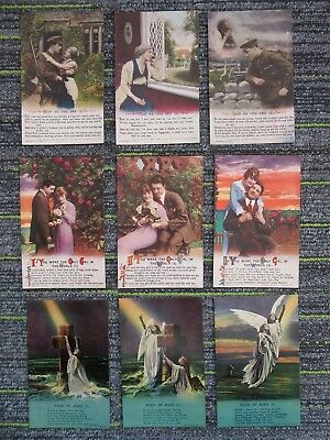 WW1 Bamforth Song Cards (3 sets) Rock Of Ages/Bad As You/If You Were The fc71-20