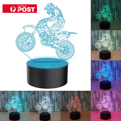 MTB Motocross Bike 3D LED Night Light 7 Colors Desk Lamp Kids Boy Christmas Gift