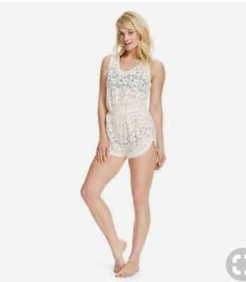 bb4d0d5f7038f Crochet Lace Romper Swimsuit Cover Up Pom Pom Tie Back White Large XL Target