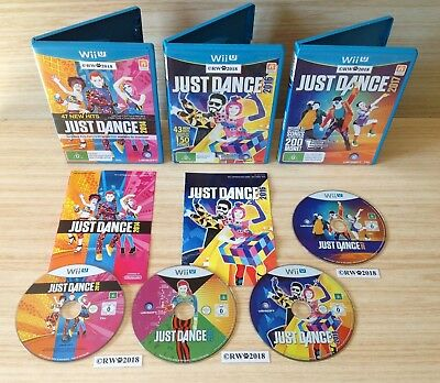 Wii U JUST DANCE 4 GAME BUNDLE - JUST DANCE 2014 + 2015 (DISC ONLY), 2016 & 2017