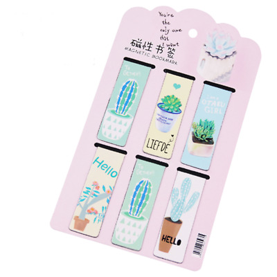 6PCS Plant Cactus Magnetic Bookmark Page Marker School Office Paper Clips New