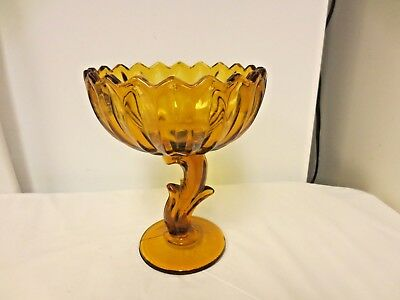 Indiana Lotus Blossom Amber Glass Pedestal compote, Candy Bowl