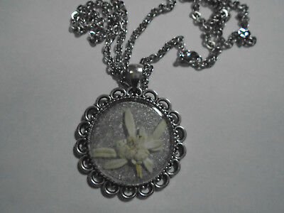 Edelweiss Real Pressed Flower Necklace Pendant Bavarian Sound of Music XMAS SALE