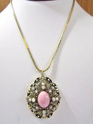 Avon Pendant Necklace Pink Cabochon Faux Seed Pearls Ornate Vintage Signed