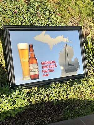 Budweiser Michigan Map Great Lakes Beer Bar Mirror Man Cave Pub Sign