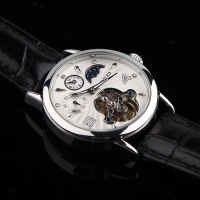 Tourbillon Men's Automatic Mechanical Watch Skeleton Black Dial & Leather Strap