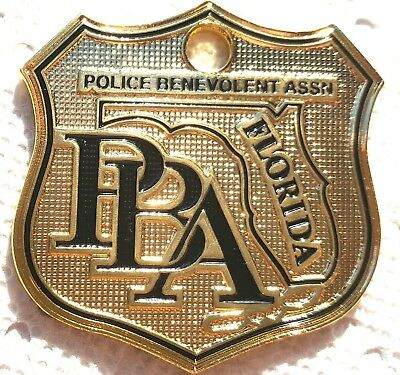 Florida Law Enforcement Police Supporter Car Gold License Plate Tag Pba Shield