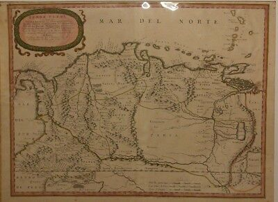 """1656 South America Map Terre Ferme, Hand Tinted, 17""""x23"""" , (See Description)"""