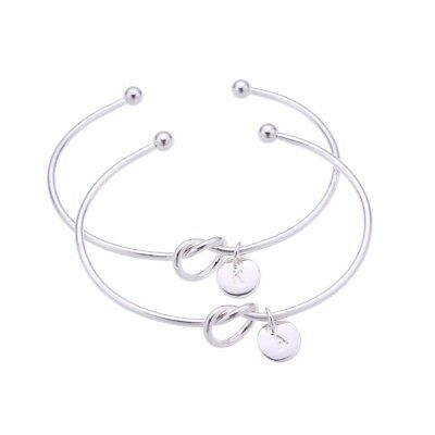 Women Silver Rose Gold Simple Letter Initial Knot Bridesmaid Bangle Bracelet UK