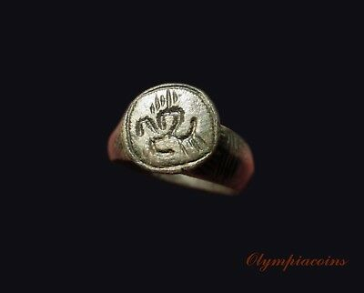 ** BEAUTIFULL ** Ancient CELTIC Bronze ring ** TWO HORSES **