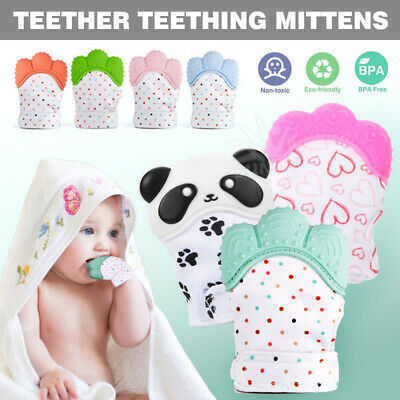 Silicone infants baby teething Teether glove mitten chew dummy toys BPA