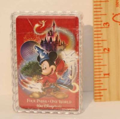 """WDW Disney Deck Playing Cards Sorcerer Mickey Four Parks One World Red NEW 3.5"""""""