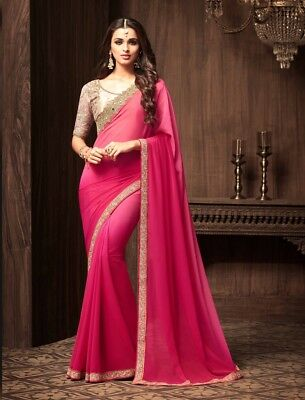 Shaded Pink Georgette Fancy Saree Embroidery, Lace Border, Unstitched Blouse