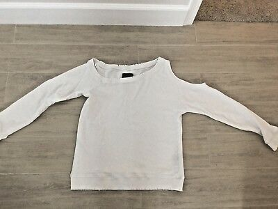 e2e7dca129d5c4 RTA WILLOW CUT Out Sweatshirt Top White Size Small Distressed ...