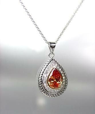 EXQUISITE 18kt White Gold Plated Cable Brown Topaz CZ Tear Drop Pendant Necklace