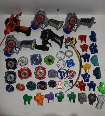 Lot Vintage Beyblade Parts & Pieces Launchers Metal Plastic Tops Driger Shooter