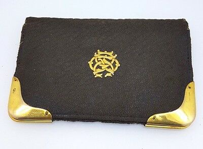 Antique Leather & 9k Note Book Holder plus rolled gold pencil by W.S. Hicks NY