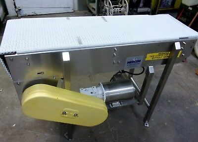 16 Inch X 51 Inch Nercon Stainless Steel Sanitary Intralox Belt Conveyor