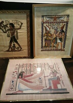 LOT OF 3 Vintage Egyptian Papyrus Paintings Framed Signed By Artist