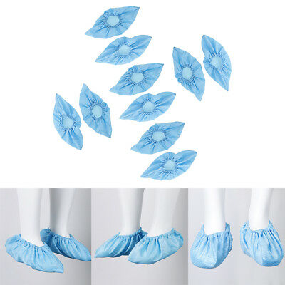 5Pairs Washable Anti-static Workshop Shoe Cover Overshoe Protector Blue