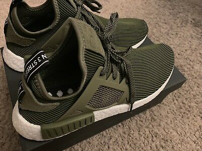 classic fit a0359 df1f6 ADIDAS NMD XR1 Pk Primeknit Pinstripes Olive Green Core Black White S32217  10.5