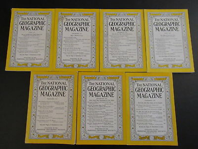 1950's NATIONAL GEOGRAPHIC LOT OF 7 NO MAPS 1950, 1952, 1953, 1956, 1958 ZZ1810