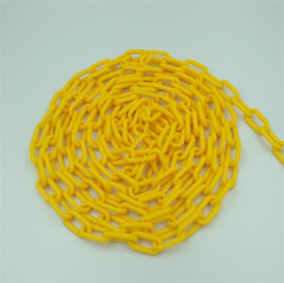 Black and Yellow Plastic Safety Chain 6MM x 25M roll plastic link warning chain