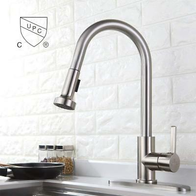 Commercial Spring Pull Down Kitchen Faucet Sprayer Sink Faucets With Deck Plate