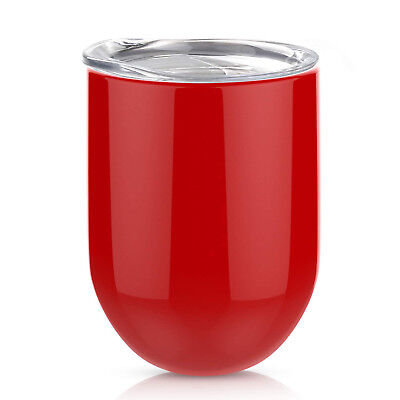 (Red) - Stemless Steel Wine Glass, AOND 350ml Double Wall Vacuum Insulated