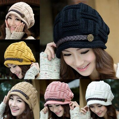 Winter Cable Knitted Woolly Crochet Warm Baggy Cap Hat For Girl Women Ladies New