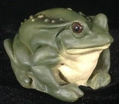 "NEW! Stone Critters Green Toad Figurine SC-551 Frog 4"" L Glass Eyes Sculpture"