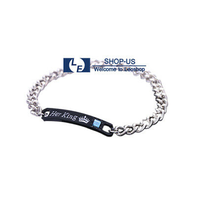 New Stainless Steel His Queen and Her King His & Hers Lovers Couples Bracelet