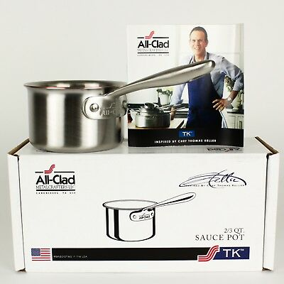 All-Clad TK Copper Core 2/3 Qt Saucepan Butter Warmer Brushed Stainless 5-Ply SS