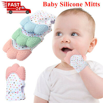 1-2PCS Baby Silicone Mitts Boy&Girl Teething Mitten Glove Candy Wrapper Teether
