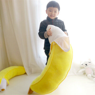 Soft Giant Yellow Banana Plush Pillow Stuffed Realistic Fruit Toy