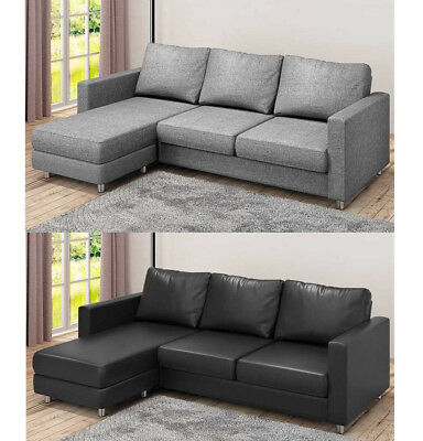 Panana L Shaped Corner Chaise Sofa 3 Seater Faux Leather in Grey Fabric/Black PU