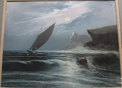 Old Pastel Painting of a Seascape w/ Sailing boat