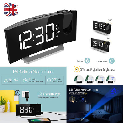 Mpow Projection Digital FM Snooze Dual Alarm Clock LCD Dimmer Ceiling Curved USB