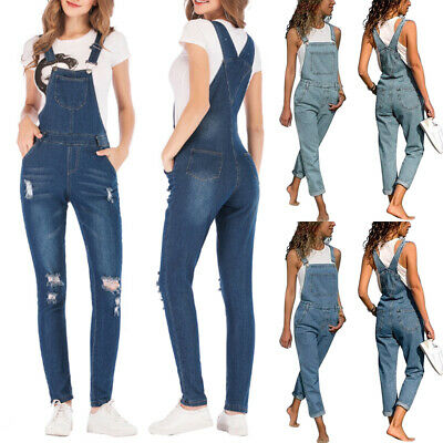 Women Ladies Denim Overalls Dungarees Jumpsuit Playsuit Trousers Jeans Bib Pants